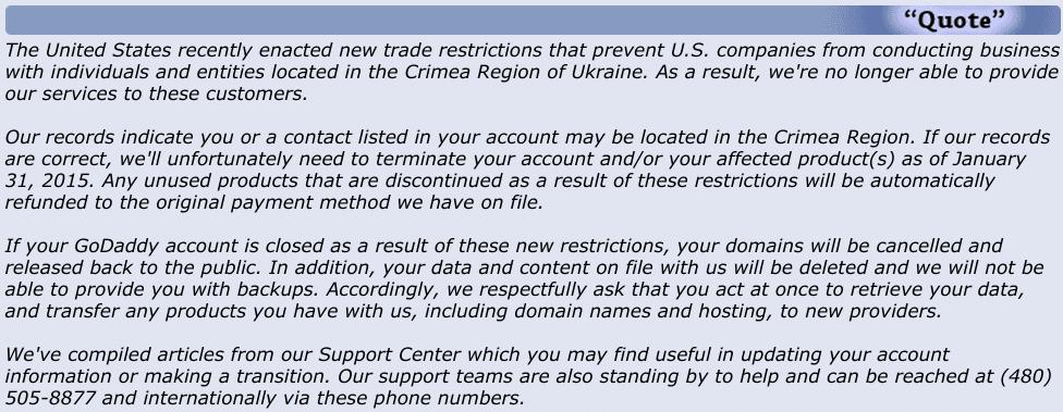 Письмо GoDaddy крымским пользователям