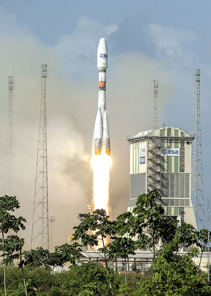 A Soyuz rocket carrying O3b satellites lifts off in French Guiana.