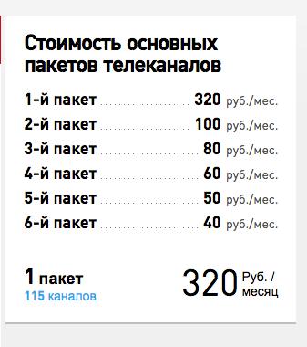 Ростелеком интерактивное ТВ способно отображать на экране тарифы на телевидение. Как надо сложить чтобы получить 555 рублей?