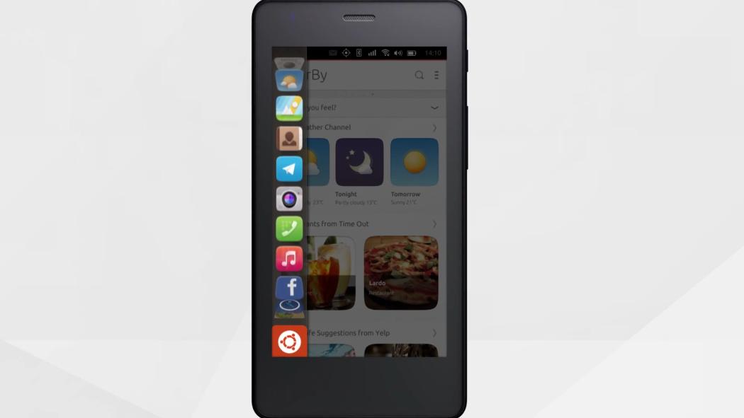 Мессенджер Telegram на главном экране приложений Ubuntu Phone