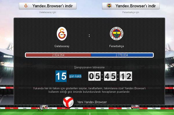 Яндекс.Браузер Турция, соревнование Галатасарая и Фенербахче