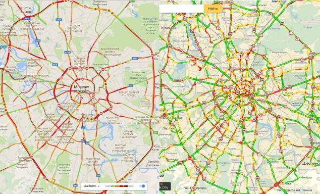 Ополчение дальнобойщиков на Картах Пробок: слева Google, справа Яндекс. ПЛАТОН протест МКАД