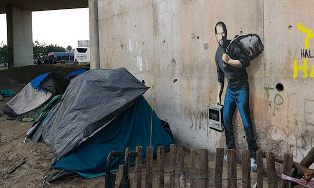 отец Стива Джобса не был сирийским беженцем — он был сыном олигарха-нефтяника, картинка Бенкси