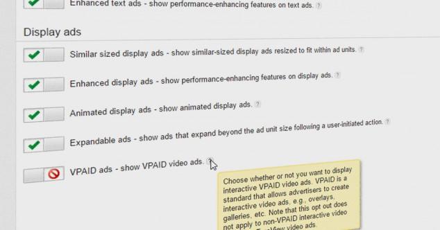 отключение VPAID-рекламы в AdSense