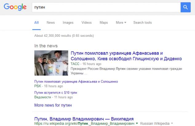 путин в Google новостях