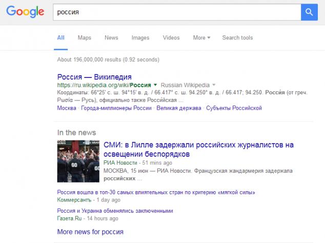 Россия в Google новостях