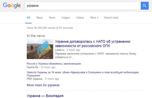 Украина в Google новостях