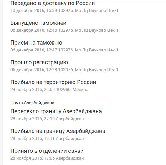 Проблемы с доставкой зарубежных отправлений в московском Внуково в ноябре-декабре 2016 года, после таможни они скапливаются на почте