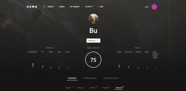 Также в сервисе есть подробный профиль пользователя. Игры разделены на различные категории, например, «пройдена» или «заброшена». На профили друзей можно подписываться и отслеживать их активность