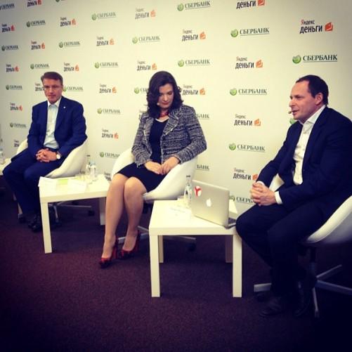 Глава «Сбербанка» Герман Греф, тогдашний гендиректор Яндекс.Денег Евгения Завалишина и основатель «Яндекса» Аркадий Волож в 2012 году